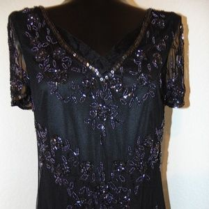 Vintage 80s Gorgeous Black Beaded dress in size M